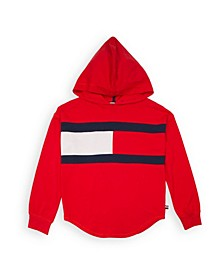 Big Girl Popover Hoodie with Heart Flag Patch