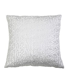 "Oyshee Metallic Embroidered Cut Velvet Pillow, 18"" x 18"""