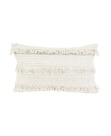 "Hillie Metallic Fringe Pillow, 20"" x 12"""