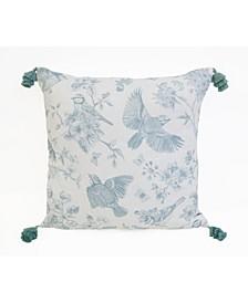 """Beretta Bird Printed Reversible Linen Tassel Pillow, 22"""" X 22"""""""