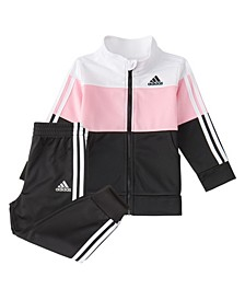 Little Girls Zip Front Color Block Tricot 2-Piece Jacket and Jogger Set