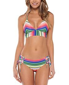 Santa Catarina Textured Rib Halter Bikini Top & Lace-Up Hipster Bikini Bottoms