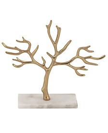 Tall, Metallic Metal Jewelry Tree On Marble Base