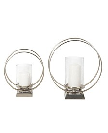 Round Aluminum and Glass Hurricane Candle Holders, Set of 2