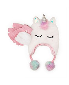 Big Girls Unicorn Heidi Hat with Flip Top Gloves, 2 Piece Set