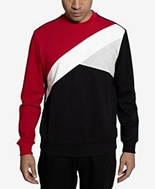 Color Texture Blocked Men's  Sweatshirt
