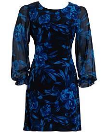 Plus Size Printed Chiffon-Sleeve Sheath Dress
