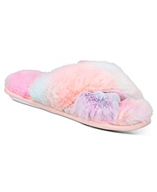 Women's Tie-Dyed Faux-Fur Crossband Slippers, Created for Macy's