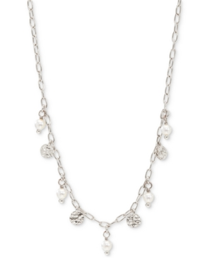 Hammered Disc & Imitation Pearl Shaky Statement Necklace