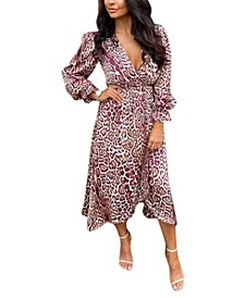 Women's Printed Wrap Midi Dress