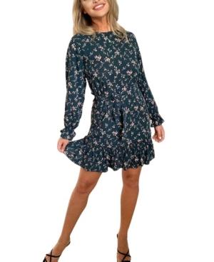 Women's Floral Frill Tie Waist Dress