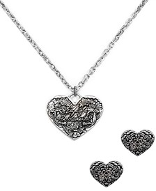 Silver-Tone Heart Pendant Necklace & Stud Earrings Set