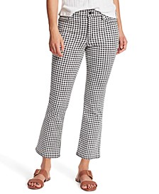 Gingham-Plaid Cropped Flared Jeans
