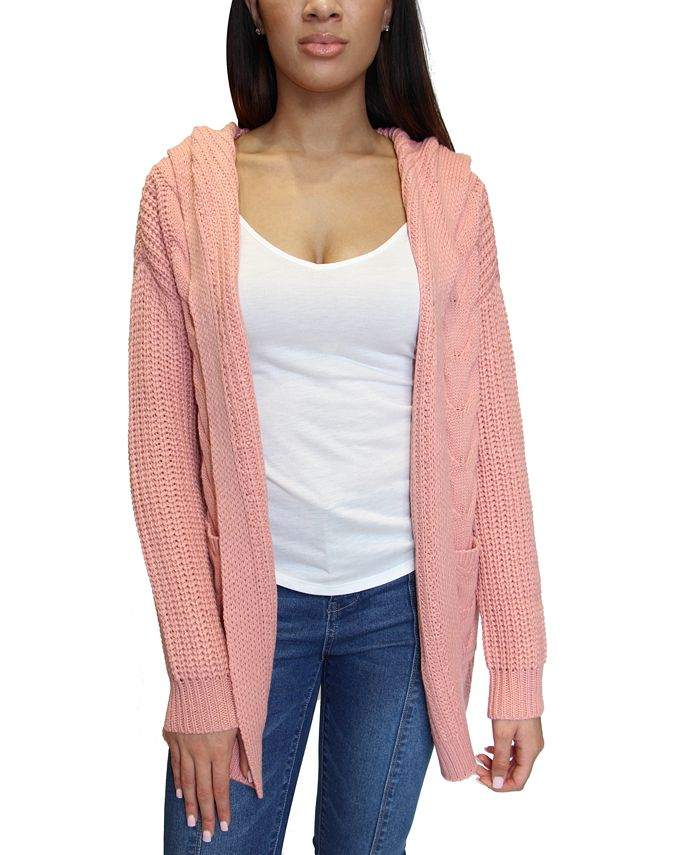 Crave Fame - Juniors Hooded Knit Cardigan