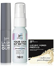 Limited Edition It Cosmetics Set. Travel- Size Your Skin But Better Setting Spray, Trial-size Lash Blowout Mascara and Trial-size Bye Bye Pores Pressed Powder Only $14 with any IT Cosmetics purchase! A $33 Value!