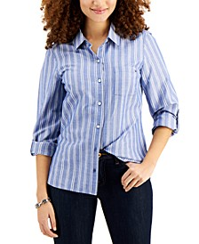 Cotton Striped Utility Shirt