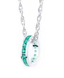 "Semi Precious Birthstone Charm with 18"" Chain in Sterling Silver"