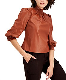 I.N.C. Faux Leather Mock Neck Top, Created for Macy's