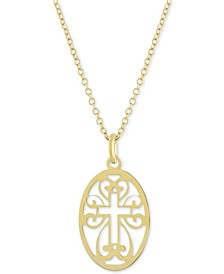 """Oval Cross 18"""" Pendant Necklace, Created for Macy's"""
