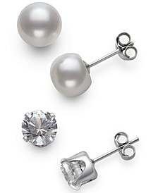 2-Pc. Set Cultured Freshwater Pearl (7mm) & Lab-Created White Sapphire  (9mm) Stud Earrings in Sterling Silver