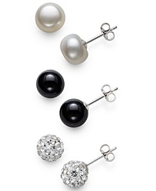 3-Pc. Set Cultured Freshwater Pearl (8mm), Onyx, & Crystal Fireball Stud Earrings in Sterling Silver, Created for Macy's