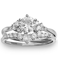 2-Pc. Set Cubic Zirconia Ring & Matching Band in Sterling Silver, Created for Macy's