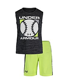 Little Boys Baseball Twist Tank Top and Shorts Set