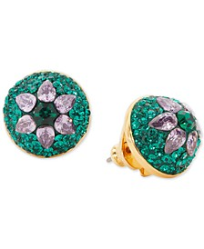 Crystal Flower Dome Stud Earrings