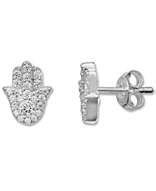 Cubic Zirconia Hamsa Hand Stud Earrings in Sterling Silver, Created for Macy's