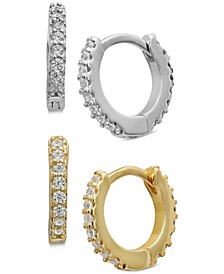 "2-Pc. Set Cubic Zirconia Small Hoop Earrings in Sterling Silver & 14k Gold-Plate, 0.5"", Created for Macy's"