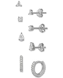 4-Pc. Set Cubic Zirconia Stud & Hoop Earrings in Sterling Silver, Created for Macy's