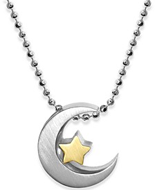 "Moon & Star 16"" Pendant Necklace in Sterling Silver & 18k Gold-Plate"
