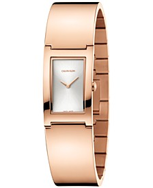 Women's Polish Rose Gold-Tone PVD Bangle Bracelet Watch 22mm
