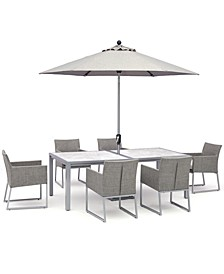"""Taft Outdoor Aluminum 7-Pc. Set (84""""  x 42"""" Rectangle Dining Table & 6 Dining Chairs) with Sunbrella® Cushions, Created for Macy's"""