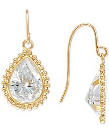 Swarovski Zirconia Teardrop Beaded Frame Drop Earrings in 14k Gold