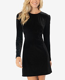 Juniors' Velvet Puff-Sleeve Bodycon Dress