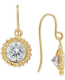 Swarovski Zirconia Beaded Frame Drop Earrings in 14k Gold
