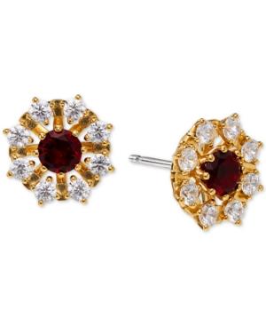 18K Gold-Plated Cubic Zirconia Flower Stud Earrings