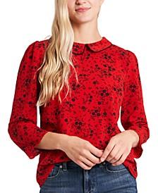Floral-Print Collar Blouse