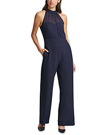 Vince Camuto Chiffon-Topped Crepe Halter Jumpsuit