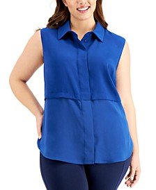 Plus Size Sleeveless Layered-Look Tunic, Created for Macy's