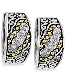 Balissima by EFFY® Diamond Small Hoop Earrings (1/8 ct. t.w.)  in Sterling Silver and 18k Gold