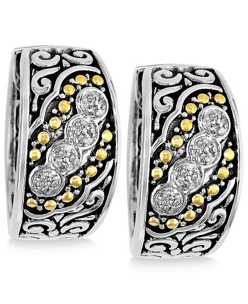 EFFY Collection Balissima by EFFY Diamond Small Hoop Earrings (1/8 ct. t.w.)  in Sterling Silver and 18k Gold