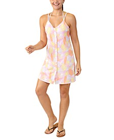 Juniors' Leaf-Print Button-Front Cover-Up, Created for Macy's