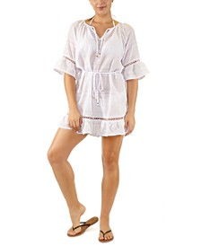 Juniors' Belted Crochet-Trim Cover-Up, Created for Macy's