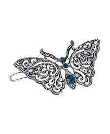 Women's Silver-Tone Montana Crystal Butterfly Barrette