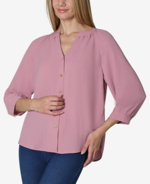 Adrienne Vittadini 3/4 SLEEVE SOLID SHIRRED NECK BUTTON FRONT BLOUSE
