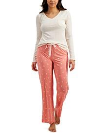 Heathered Pajama Top & Printed Pajama Pants, Created for Macy's