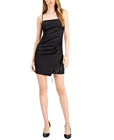 Lizz Ruched Rhinestone-Fringe Dress