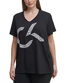 Plus Size V-Neck Logo Top